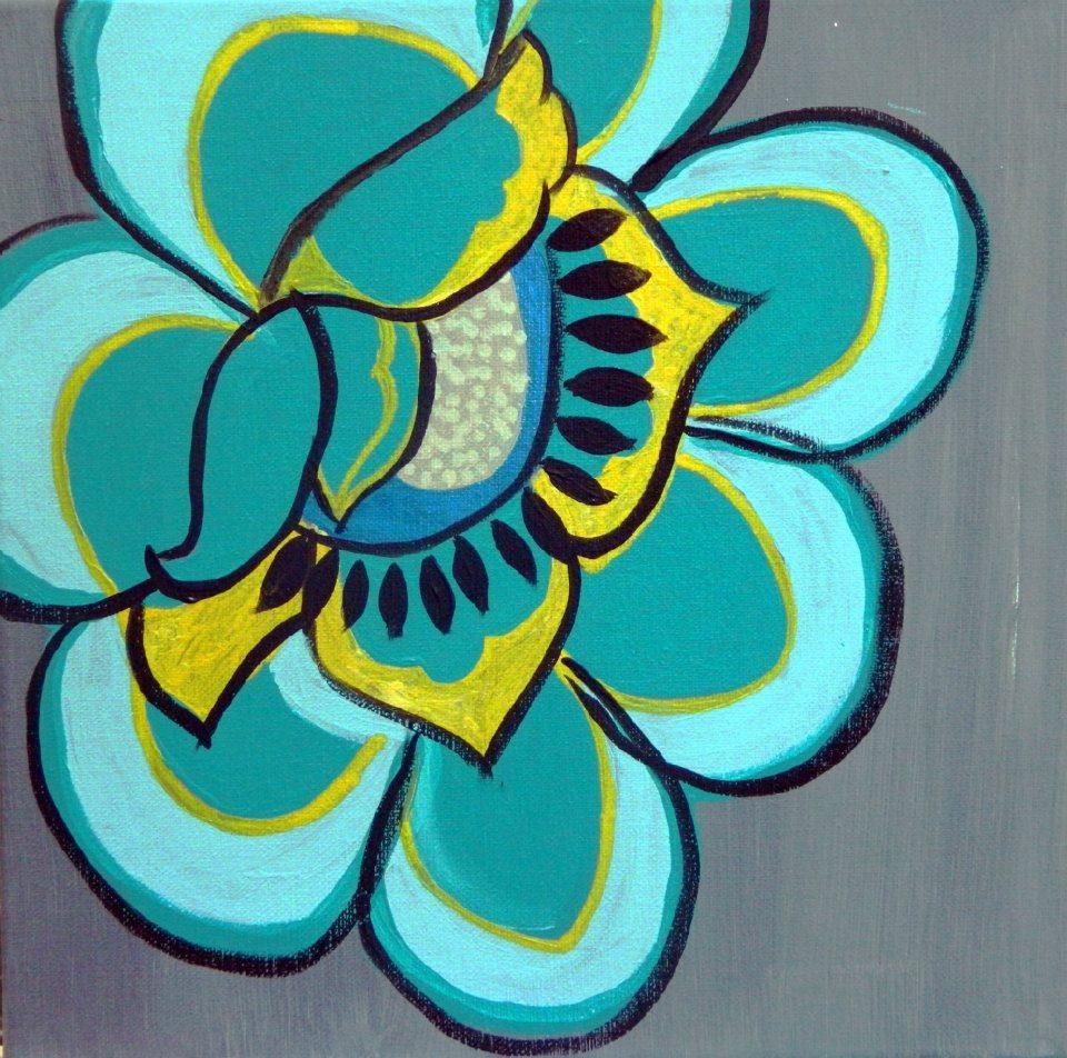 Original Painting By Corrine Lombardo Funky Flower The Corri Door